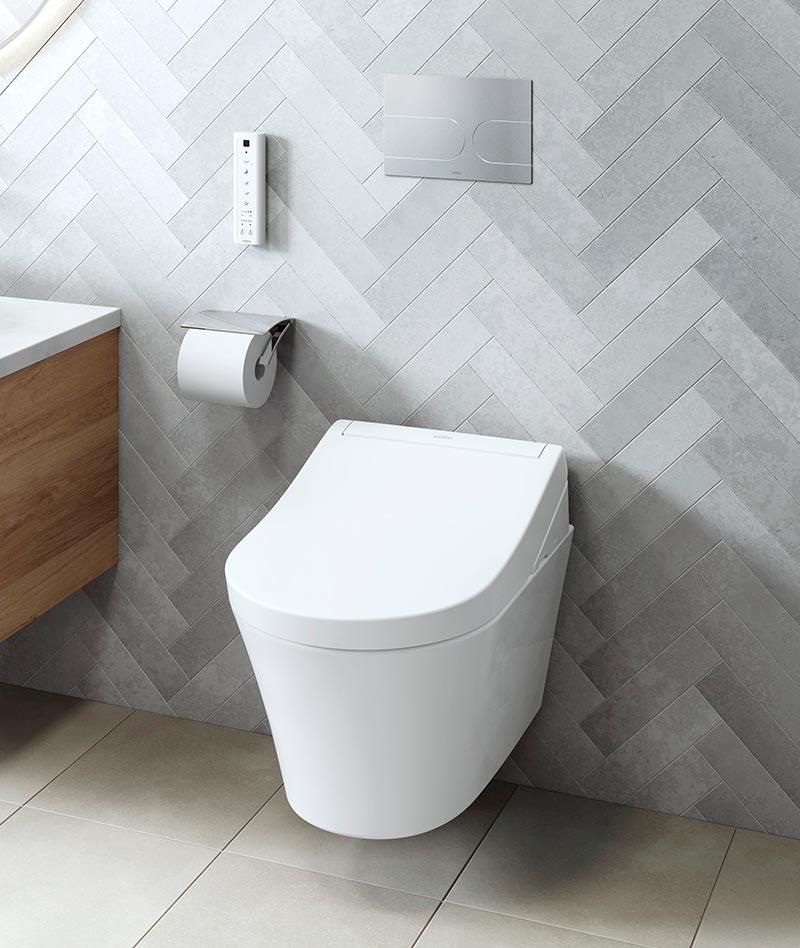Die WASHLET des japanischen Komplettbadanbieters TOTO gelten allgemein als die Dusch-WCs im Markt mit den umfangreichsten Hygienefunktionen. Neu ist das Modell RG. Foto: TOTO