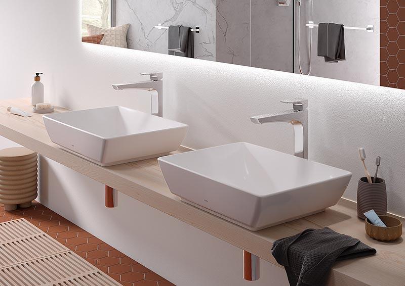 Die Aufsatzwaschtische der Serie WU sind mit der Spezialglasur CEFIONTECT ausgestattet und verfügen über eine leicht zu reinigende und dauerhaft hochwertig glänzende Oberfläche. Foto: TOTO