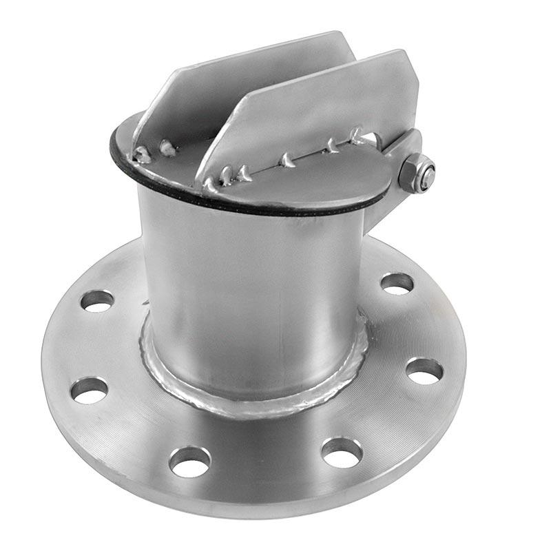 Die Edelstahl-Froschklappen von Aschl werden in hauseigener Produktion in Oberösterreich hergestellt. Auch individuelle Lösungen und Sonderanfertigungen sind möglich – zum Beispiel wie hier mit Flansch-Anschluss. Bildquelle: ASCHL (eine Marke der 1A Edelstahl GmbH)