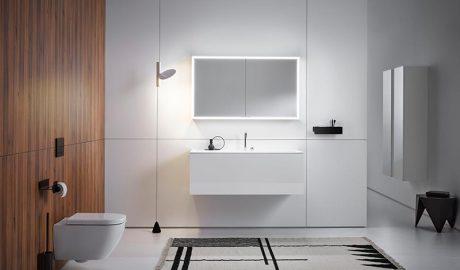 Die Centric Hoch- und Halbhochschränke sind kombinierbar und bieten viel Platz im Bad. Bildquelle: Frasco GmbH & Co. KG